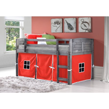 Donco Kids PD-790AAG-R Twin Size Louver Low Loft with Red Tent - Antique Grey Stain