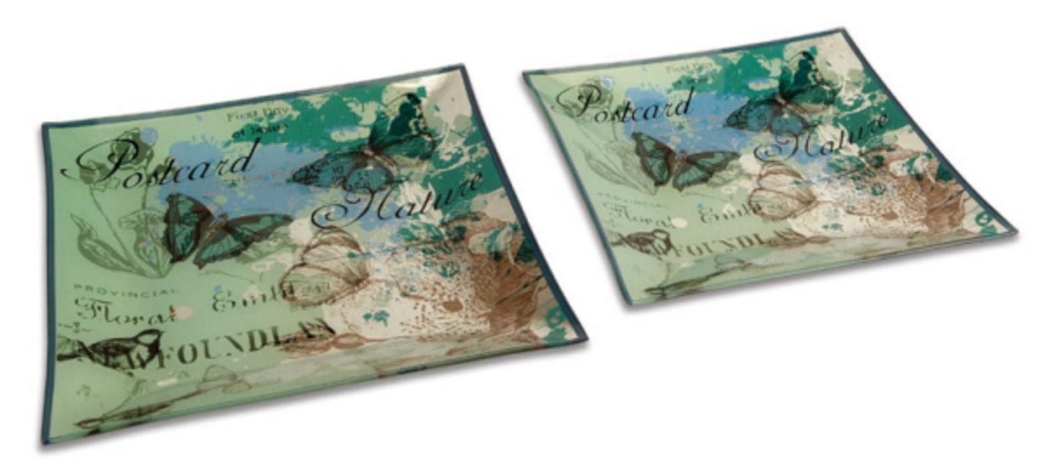 Pack of 6 French Inspired Provincial Bird and Butterfly Square Decorative Plates  sc 1 st  Walmart.com & Pack of 6 French Inspired Provincial Bird and Butterfly Square ...