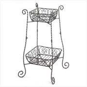 Gifts & Decor Wire Basket Style 2-Tier Plant Stand Display Storage