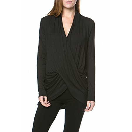 - Sassy Apparel Womens Long Sleeve Drape Criss-cross Front Fashion Top (Large, Black)