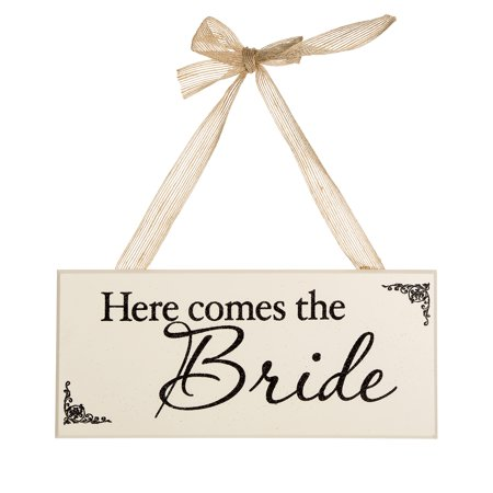 Glittered Here Comes the Bride Sign: 12 x 5.25 inches](The Bride Is Coming Sign)