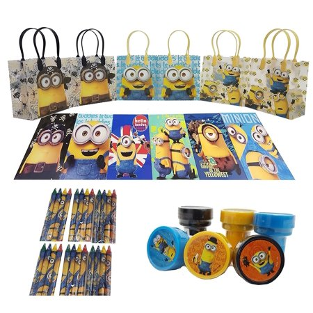 The Best Minions 6 Pcs Gift Bag party favor set pack w/coloring book (42pcs)](Minion Gift Bags)