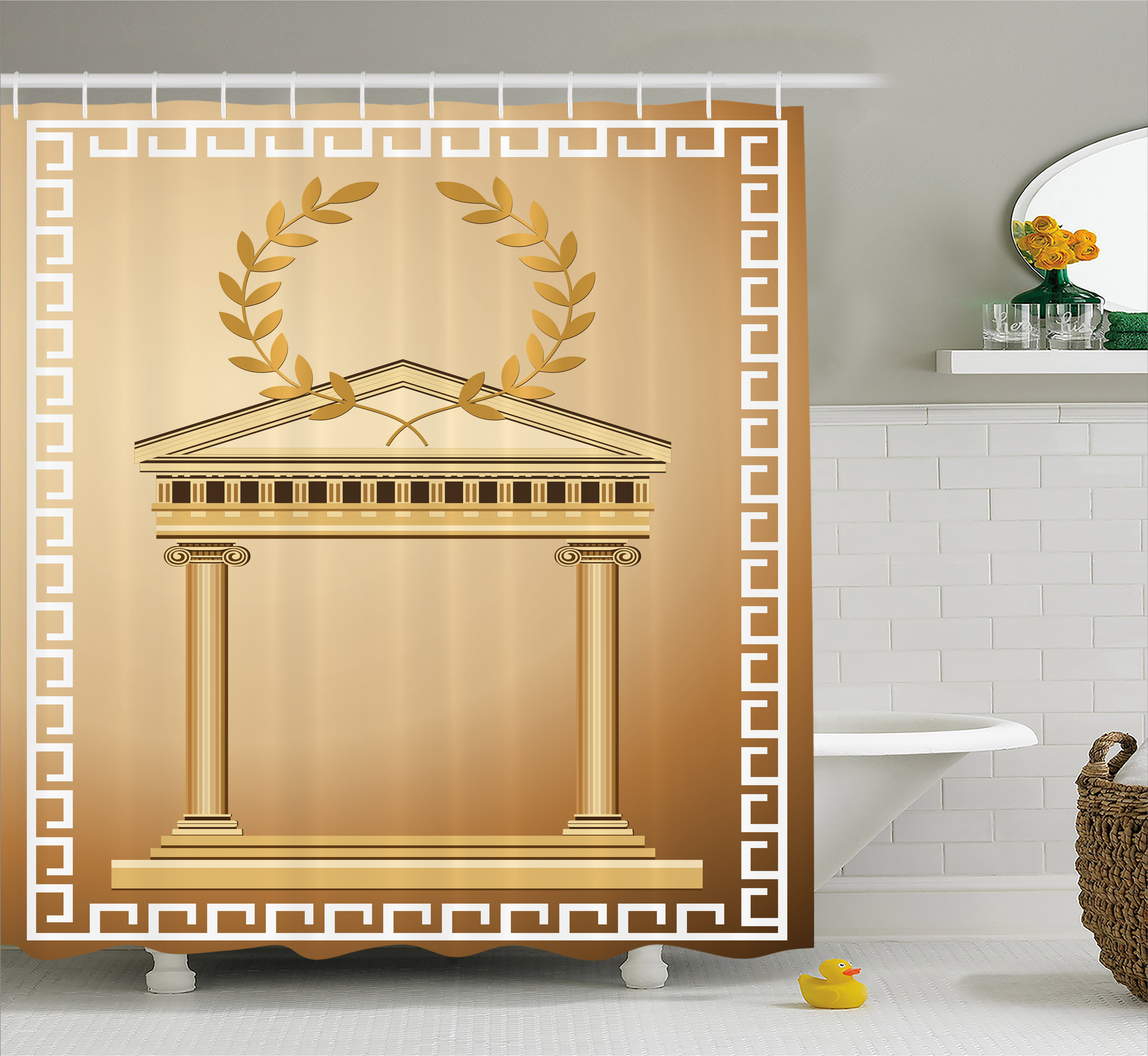 aca687469db5 Toga Party Shower Curtain, Antique Temple with Roman Olive Branch and Greek  Architecture Motif, Fabric Bathroom Set with Hooks, 69W X 75L Inches Long,  ...