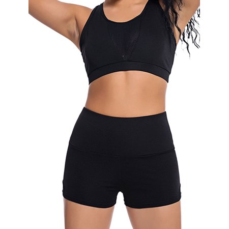 b50047901dae Sexy Dance - 2Pcs Women Fitness Quick-drying Mesh Sexy Vest Crop Top + High  Waist Shorts Set Running Gym Yoga Sports Suit Tracksuit - Walmart.com