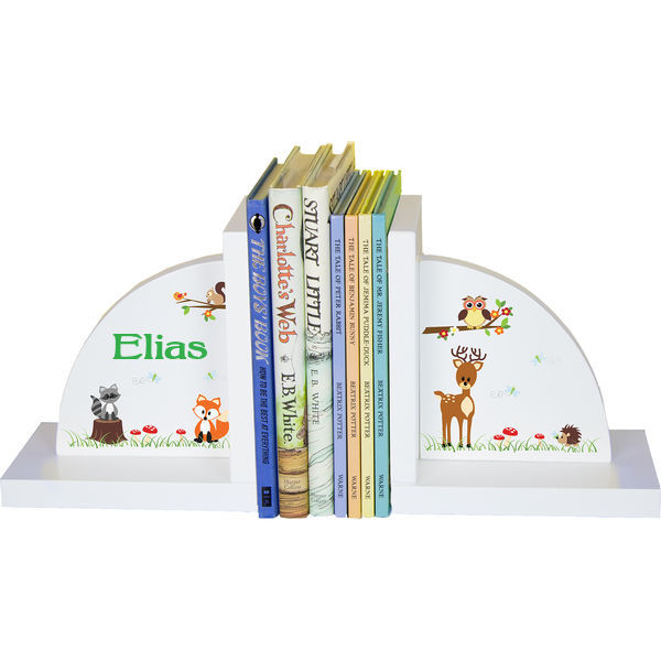 Personalized Woodland Animals Childrens Bookends