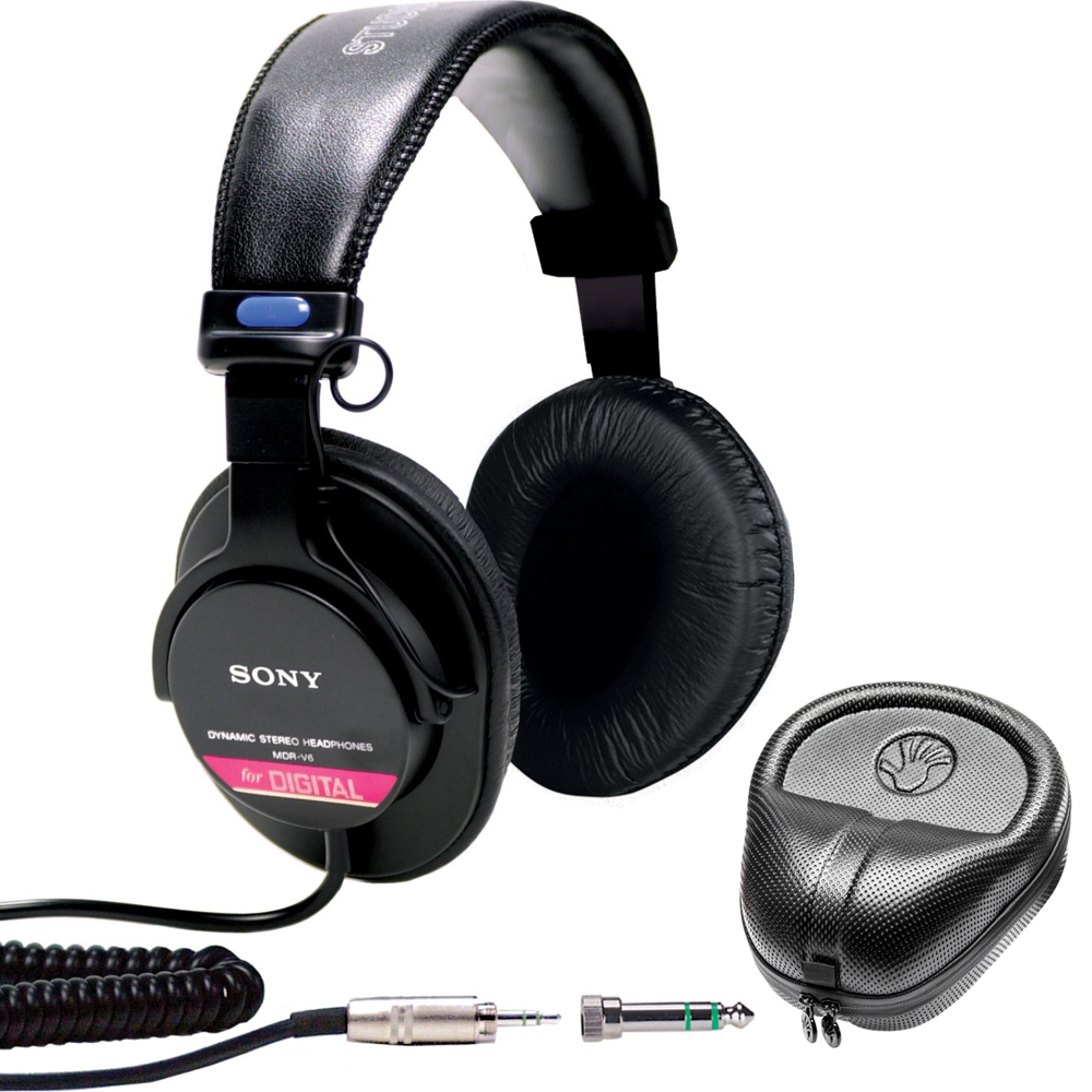 Sony Studio Monitor Headphones with CCAW Voice Coil (MDR-V6) with Slappa HardBody PRO Full Sized Headphone Case - Black
