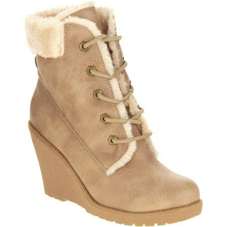 d90245e70be4 Mo Mo - MOMO Women s Wedge Ankle Boot with Laces and Faux Fur Cuff -  Walmart.com