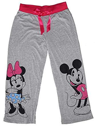 [P] Disney Womens' Classic Mickey & Minnie Mouse Pajama Pants - Gray Pink (MD)