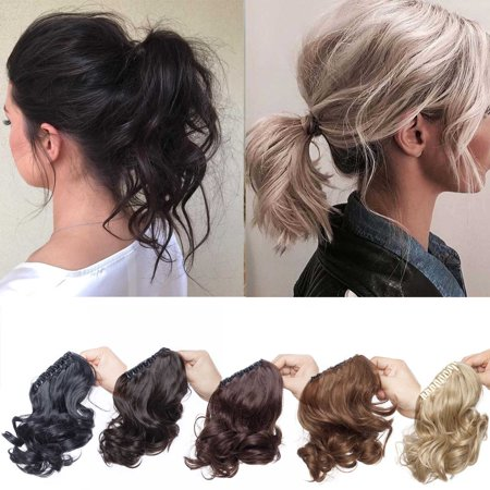S-noilite Adjustable Messy Style Ponytail Hair Extension with Jaw Claw Synthetic Hair-Piece and braiding ponytail ash blonde & bleach blonde , 11