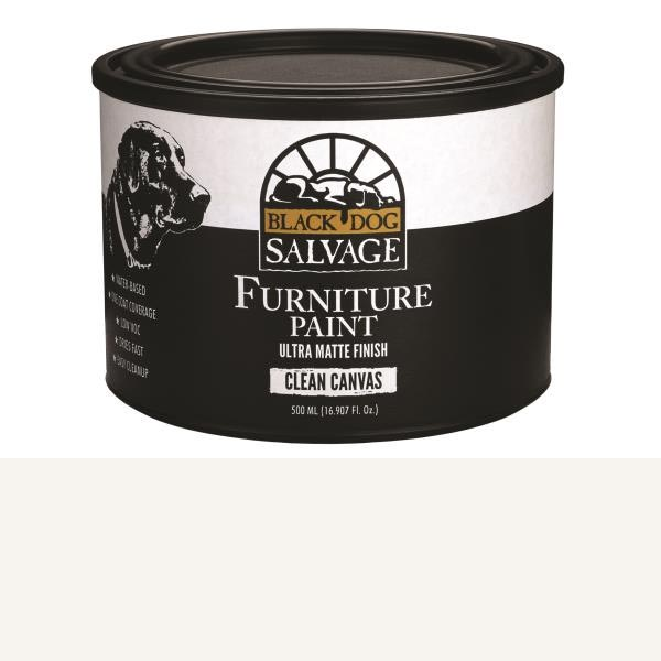 Black Dog Salvage Clean Canvas (White) Furniture Paint, 500ml, Pint