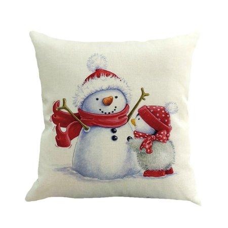 Huppin's Hot Sale Christmas Decoration Printing Dyeing Sofa Bed Car Cute Snowman Waist Throw Pillow Cover Cushion Cover Home Festival Decor