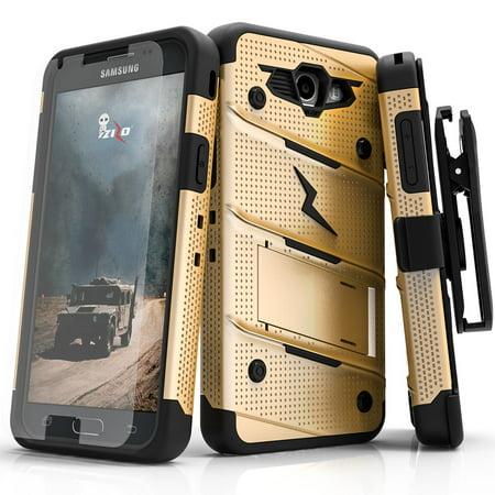 Samsung Galaxy J3 Case, Zizo [Bolt Series] w/ [Galaxy J3 Screen Protector]  Kickstand [12 ft  Military Grade Drop Tested] Holster Belt Clip - Galaxy J3