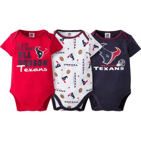 NFL Houston Texans Baby Boys Short Sleeve Bodysuit Set, 3-Pack for $<!---->