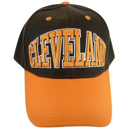 Cleveland Adult Size Adjustable Baseball Cap (Brown/Orange) ()