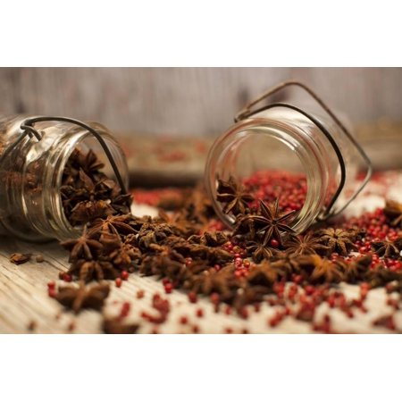 Star Anise and Red Pepper Corns around a Rustic Mason Jar Print Wall Art By Alastair Macpherson (Air Corp Star)