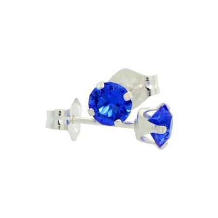 Sterling Silver Swarovski Crystal Blue Sapphire color September Birthstone Stud Earrings 4 mm