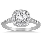 Marquee Jewels 14k White Gold 1 1/10ct TDW Diamond Halo Engagement Ring