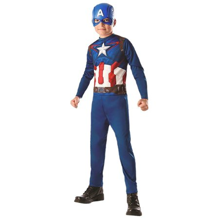 Captain America Child Costume - Small](Superhero White Costume)