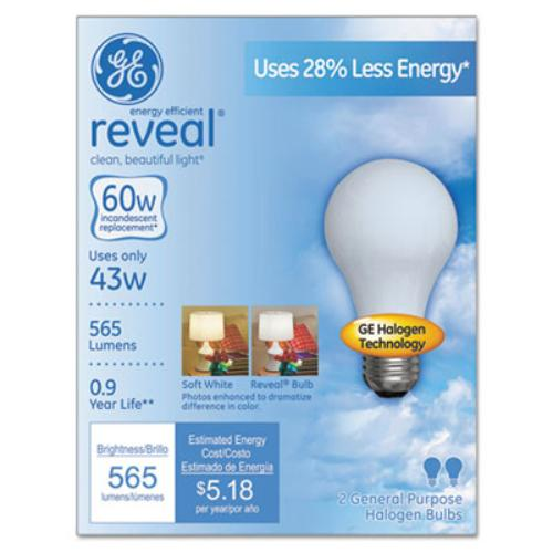Ge 43-watt Energy Efficient A19 Bulb - 43 W - 120 V Ac - A19 Size - White - E26 Base - 1000 Hour - 4760.3°f [2626.8°c] Color Temperature - 100 Cri - Energy Saver - 2 Pack (63007_40)