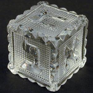 "2"" Square Hebrew Clear Crystal Alphabet Letter Jewish Block Display Figurine Keepsake"