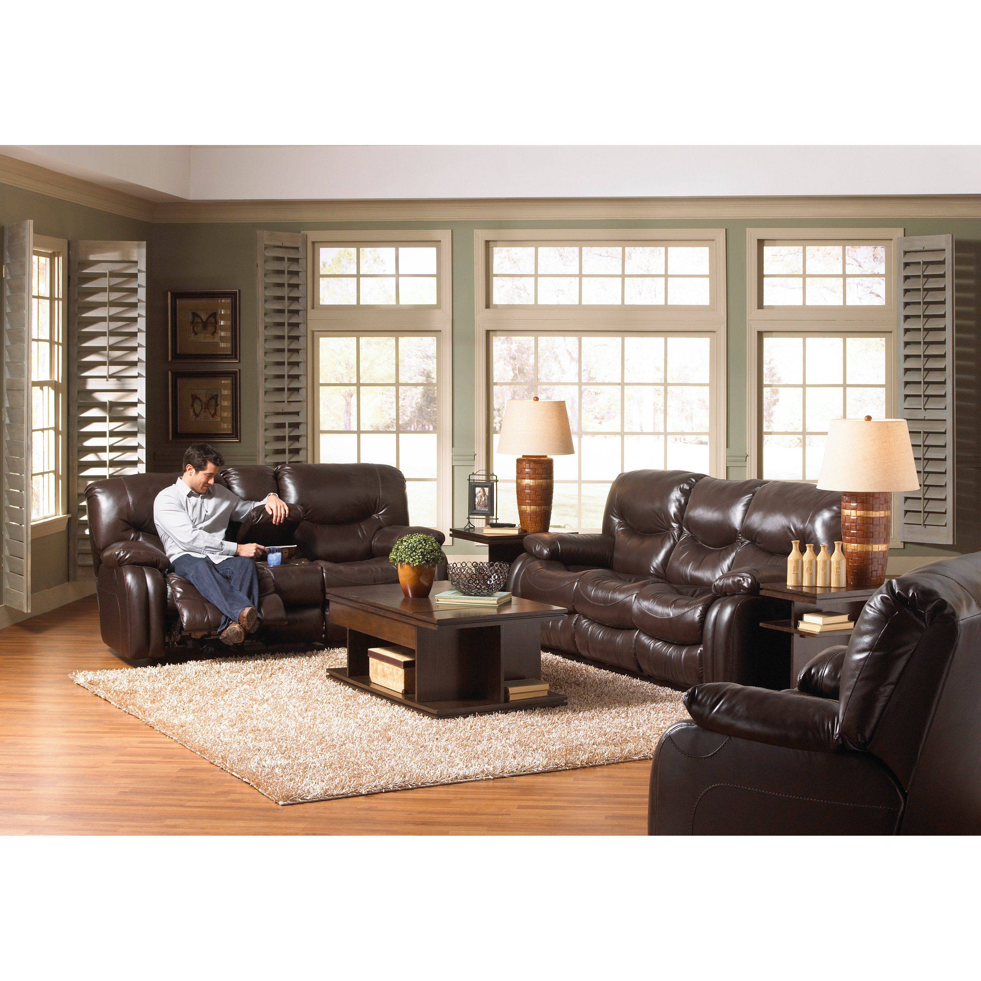 Catnapper Arlington Leather Reclining Sofa Set   Mahogany   Power   Recliner  Only
