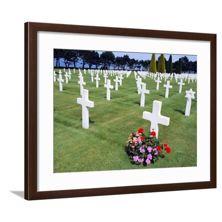 American Cemetery (WWII), Omaha Beach, Colleville-Sur-Mer, Calvados, Normandy, France Framed Print Wall Art By Guy Thouvenin