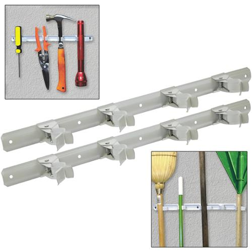 2 Symmetry Spring Grip Organizer Bars Broom Mop Tool Clips Storage Garage Closet