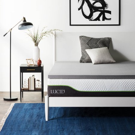 Lucid Bamboo Charcoal Therapeutic Memory Foam Mattress (Best Extra Firm Mattress Topper)