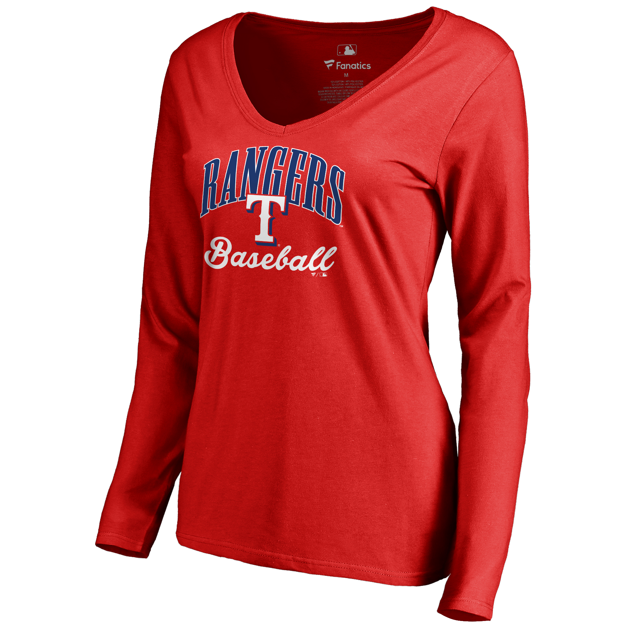 Texas Rangers Women's Victory Script Long Sleeve T-Shirt - Red