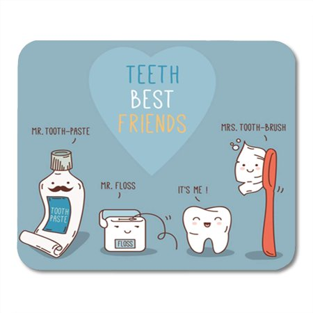 LADDKE Teeth Best Friends Toothpast Toothbrush and Floss Dental Mousepad Mouse Pad Mouse Mat 9x10