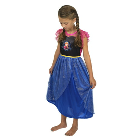 Disney Princess Nightgown (Disney Frozen Princess Anna Girls Fantasy Gown Nightgown 21FZ733GGS )