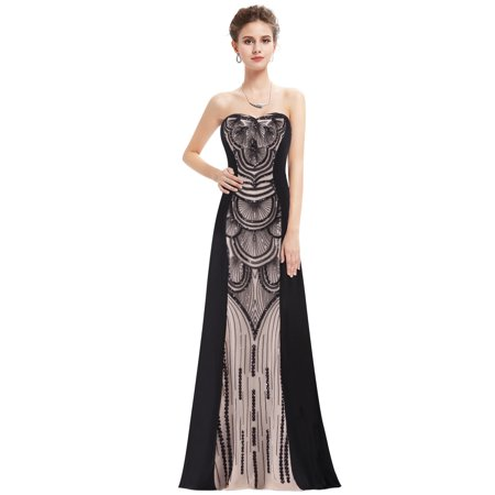 ba6610eae2 Ever-pretty - Ever-Pretty Womens Elegant Floor-Length Strapless Sequined  Black Tie Evening Party Cocktail Wedding Guest Prom Ball Gown for Women  08853 US 6 ...