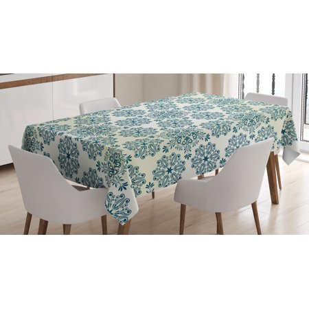 Winter Tablecloth, Mandala Style Floral Round Figures with Damask Elements Retro Graphic Ornaments, Rectangular Table Cover for Dining Room Kitchen, 60 X 90 Inches, Teal Cream, by