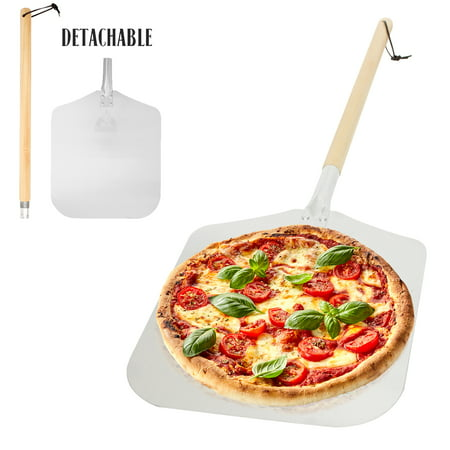 - Aluminum Pizza Peel Paddle with Detachable Wooden Handle, 12