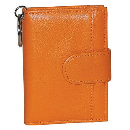Buxton Womens Leather Key Chain ID Card Case Wallet, ORange