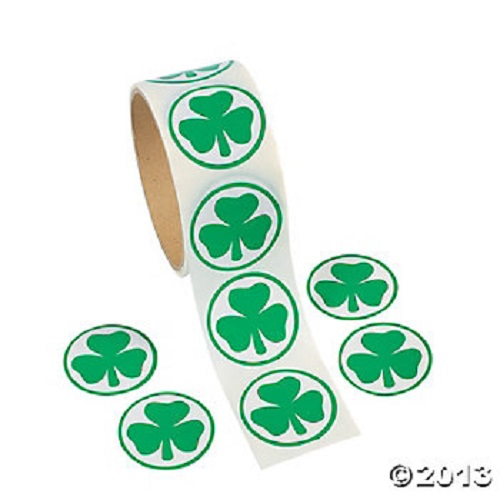Green Shamrock Stickers St Patrick's Day Clover Irish 100  Roll Party Favors