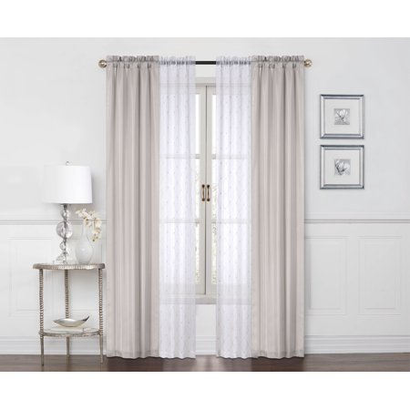 Mainstays 4 Piece Set, 2 Curtain Panels with 2 Sheers ()