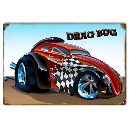 "Drag Bug Metal Sign By Artist Bernard Oliver 12""x18""  CSRG9164"