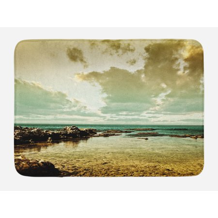 Non Puddle Light - Landscape Bath Mat, Island Scenery Near Ocean Sea with Clouds Puddle Stones Gloomy Air Photo, Non-Slip Plush Mat Bathroom Kitchen Laundry Room Decor, 29.5 X 17.5 Inches, Beige Sepia Teal, Ambesonne