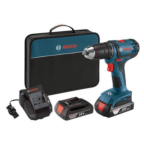 Bosch DDB181-02 18-Volt Lithium-Ion 1/2 in. Compact Cordless Driver Drill Kit with 2 Batteries