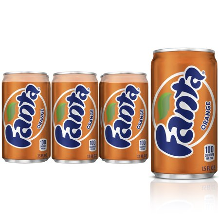 (4 pack) Fanta Mini Can Soda, Orange, 7.5 Fl Oz, 6 Count (Zipfizz Orange Soda)