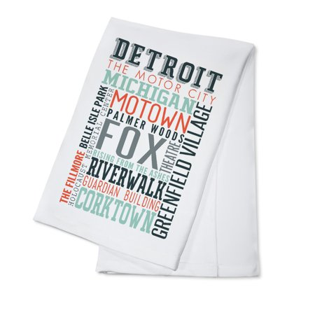 Detroit  Michigan   Typography   Lantern Press Artwork  100  Cotton Kitchen Towel