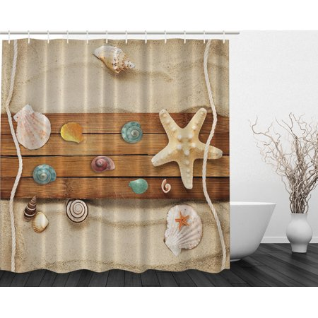 Sea Creatures Sea Star And Shells Themed Print Fabric Shower Curtain Extra Long