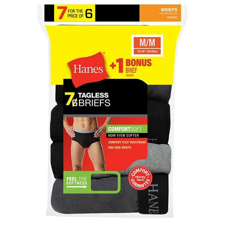 Rose Waistband - Men's Mid Rise Brief with Comfort Flex� Waistband 7-Pack (Includes 1 Free Bonus Brief) - Assorted - XL