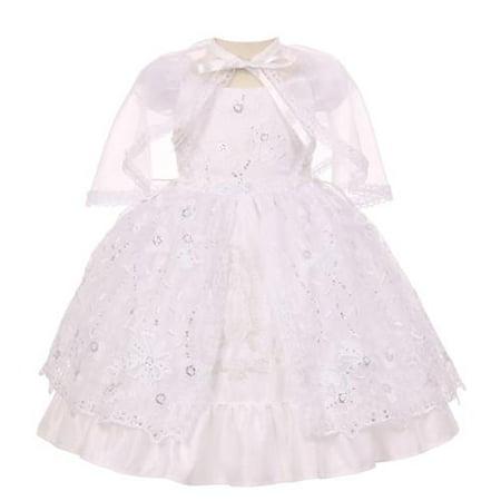 Baby Girls White Flower Sequins Headband Bolero Baptism Christening Dress 0-12M
