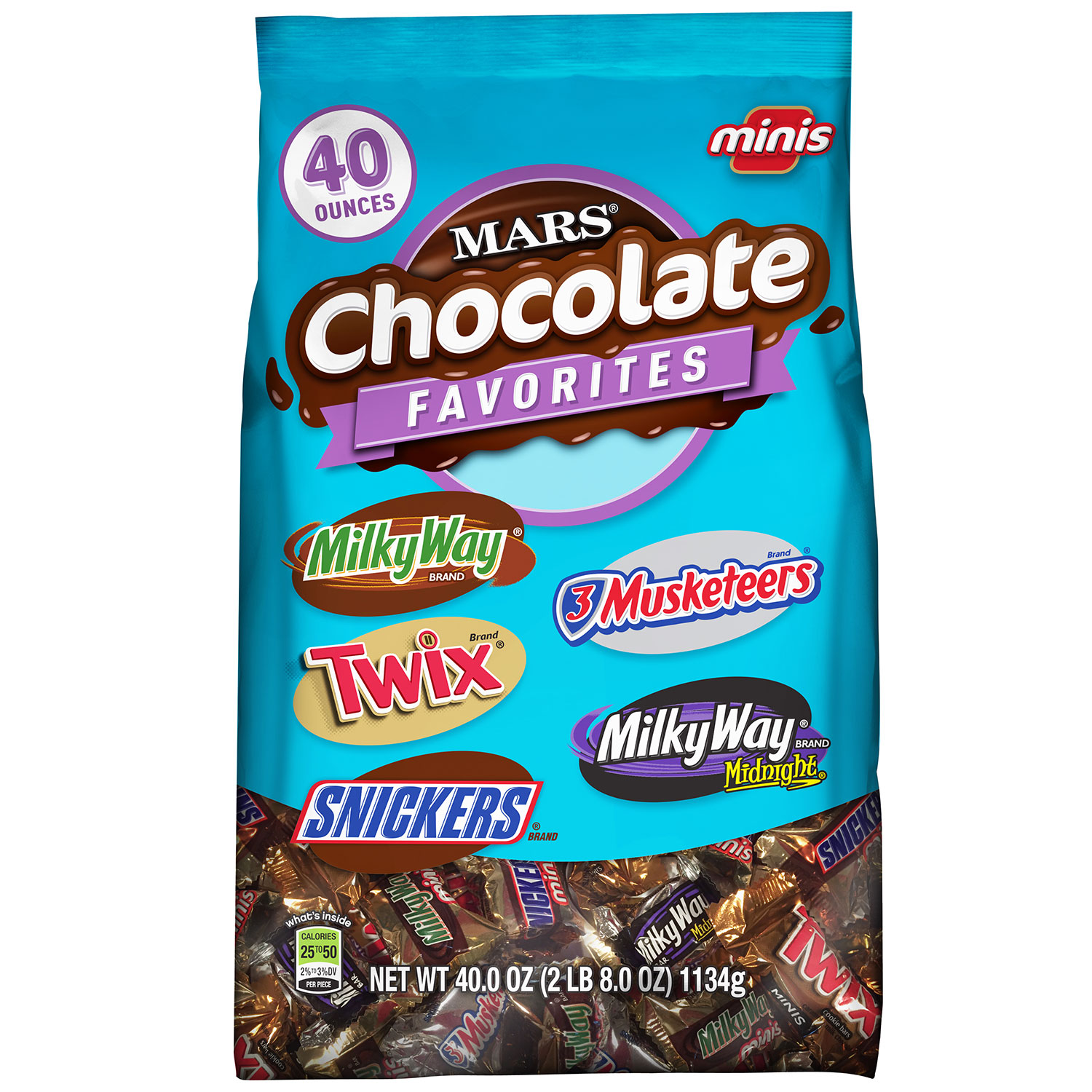 MARS Chocolate Favorites Minis Size Candy Bars Variety Mix Bag (TWIX, MILKY WAY, SNICKERS, 3 MUSKETEERS Brands), 2.5 lb