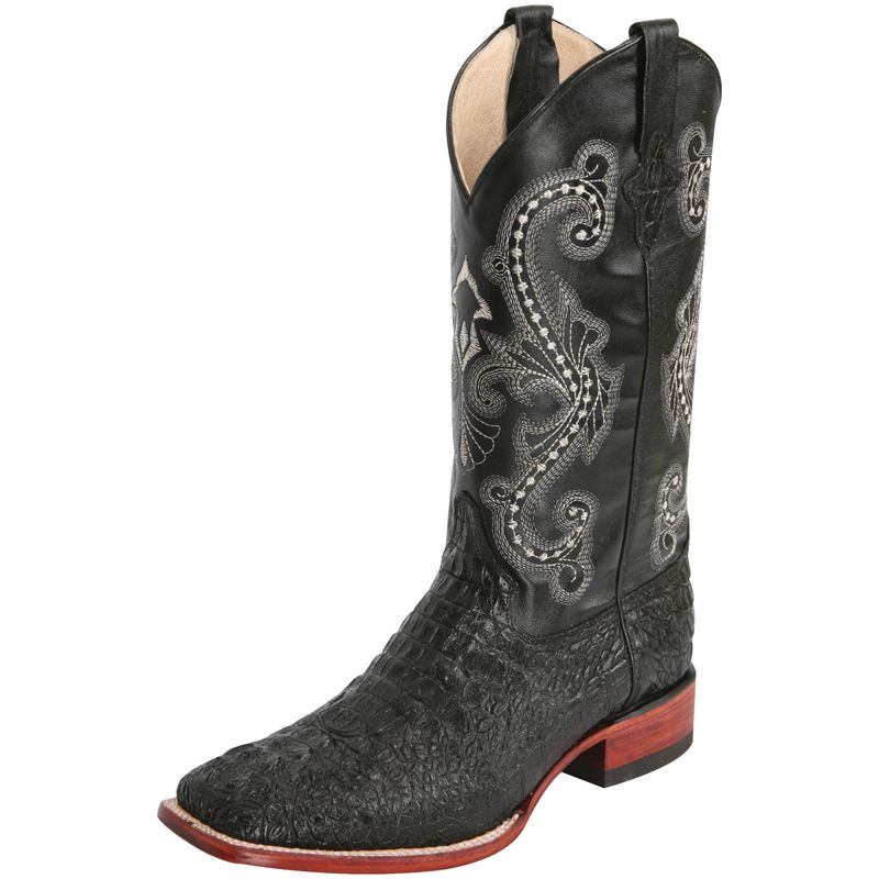 Ferrini Western Boots Mens Cowboy Caiman Gator Print Black 40393-04 by Ferrini