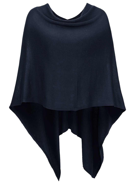 DJT Women's Solid Knit Short Asymmetric Wrap Poncho Topper Navy