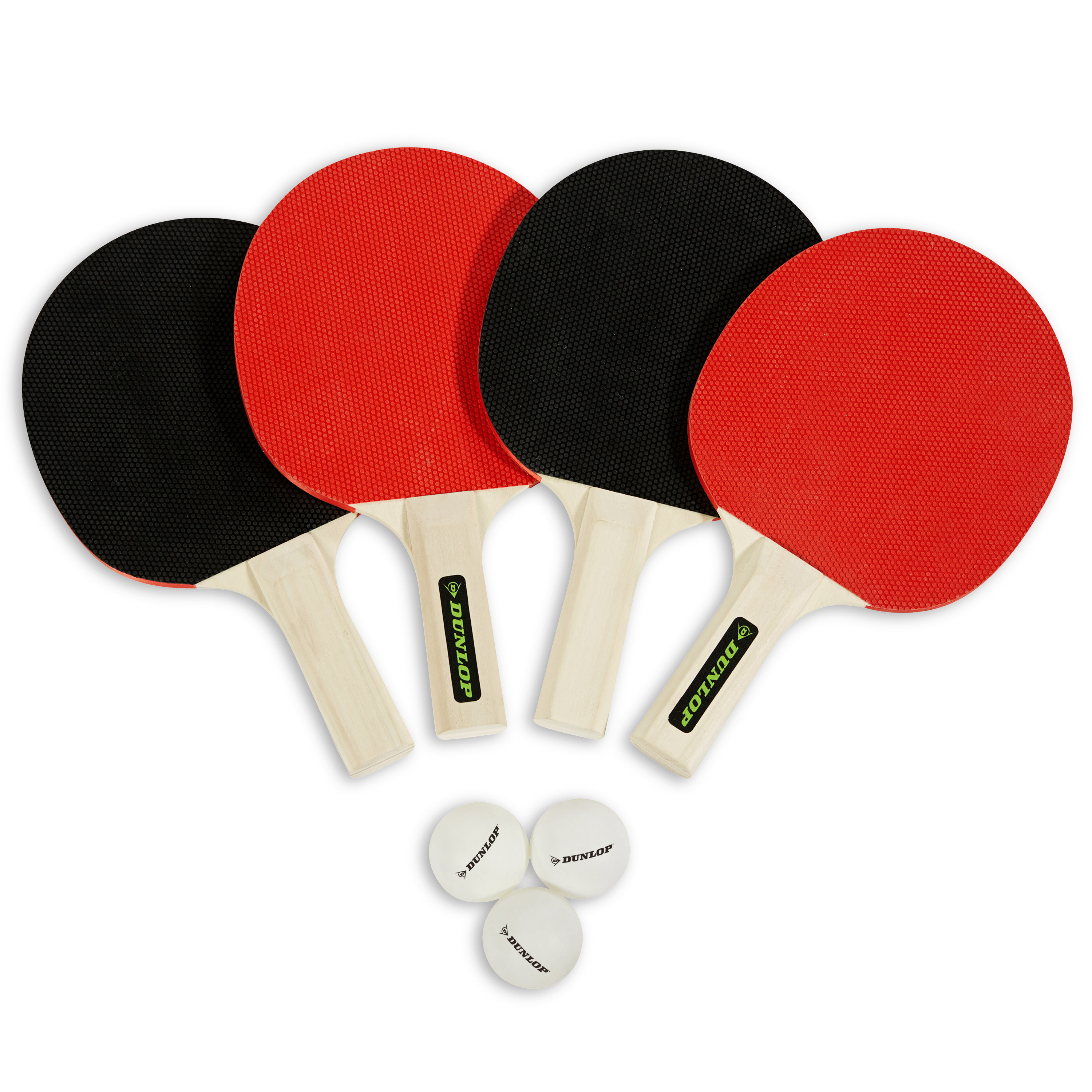 Dunlop 4 Player Table Tennis Accessory Set,Four Rackets and Three Ping Pong Balls