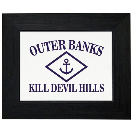 Outer Banks - Kill Devil Hills, NC - Nautical Anchor Framed Print Poster Wall or Desk Mount